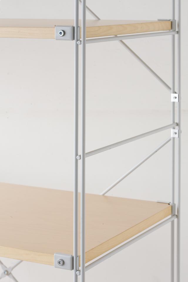 無印良品の「スチールユニットシェルフ・木製棚セット・ワイド大・グレー」-02