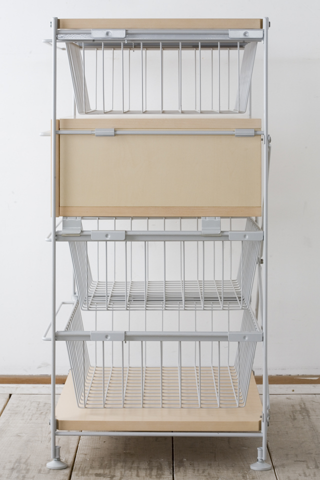 無印良品の「スチールユニットシェルフ・木製棚のボックス・引出し・1段とワイヤーバスケット・グレー3段のセット」-03