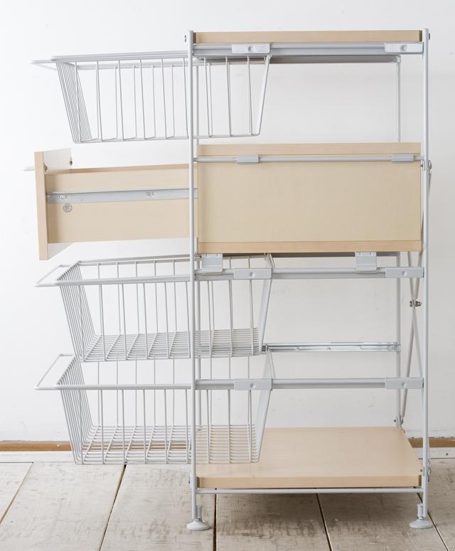 無印良品の「スチールユニットシェルフ・木製棚のボックス・引出し・1段とワイヤーバスケット・グレー3段のセット」-04