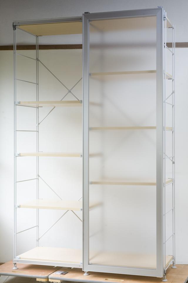 無印良品「スライドドア付き・スチールユニットシェルフ・木製棚セット」-03