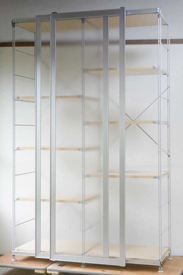 無印良品「スライドドア付き・スチールユニットシェルフ・木製棚セット」-04
