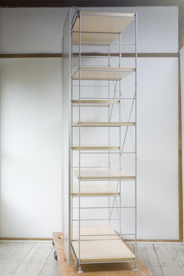 無印良品「スライドドア付き・スチールユニットシェルフ・木製棚セット」-05