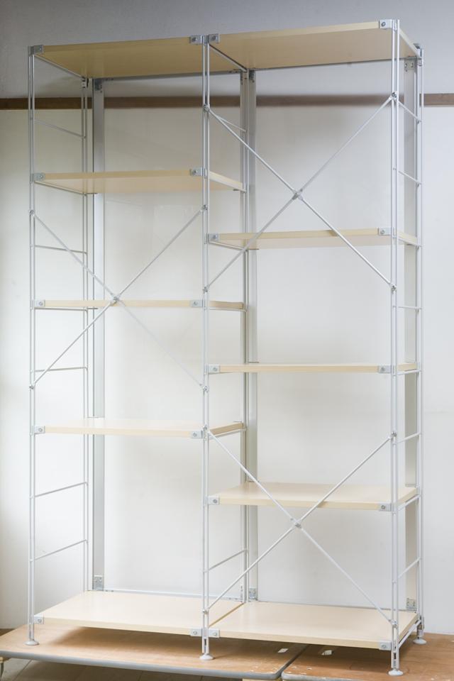 無印良品「スライドドア付き・スチールユニットシェルフ・木製棚セット」-06