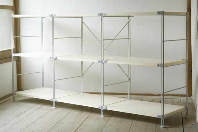 無印良品「スチールユニットシェルフ・木製棚3段セット」-02