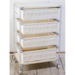 スチールユニットシェルフ帆布バスケットセット・木製棚板・幅56cmタイプ