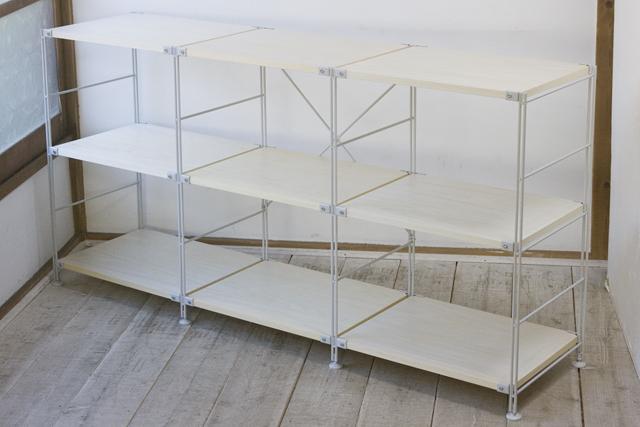無印良品のスチールユニットシェルフ・木製棚3段セット-02