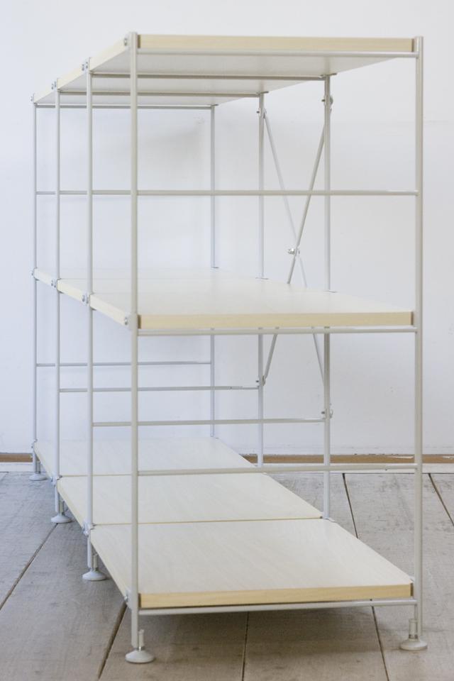 無印良品のスチールユニットシェルフ・木製棚3段セット-03