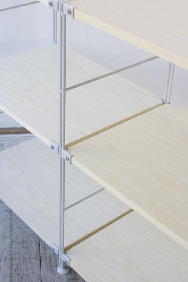 無印良品のスチールユニットシェルフ・木製棚3段セット-06