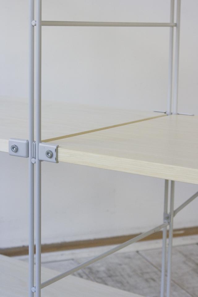 無印良品のスチールユニットシェルフ・木製棚3段セット-07