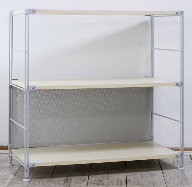 無印良品「スチールユニットシェルフ・木製棚セット・ワイド小・グレー」-01