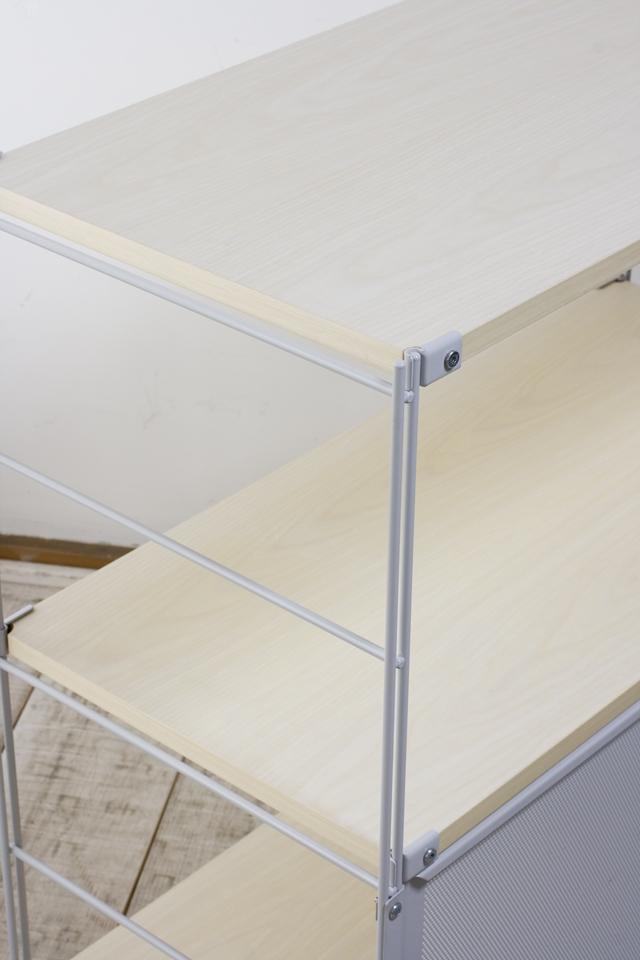 無印良品「スチールユニットシェルフ・木製棚セット・ワイド小・グレー」-03