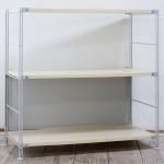 無印良品「スチールユニットシェルフ・木製棚セット・ワイド小・グレー」
