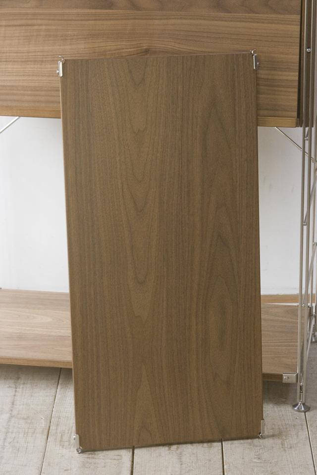 無印良品「ステンレスユニットシェルフ・ウォールナット材棚セット・ボックス・フラップ扉付」-07