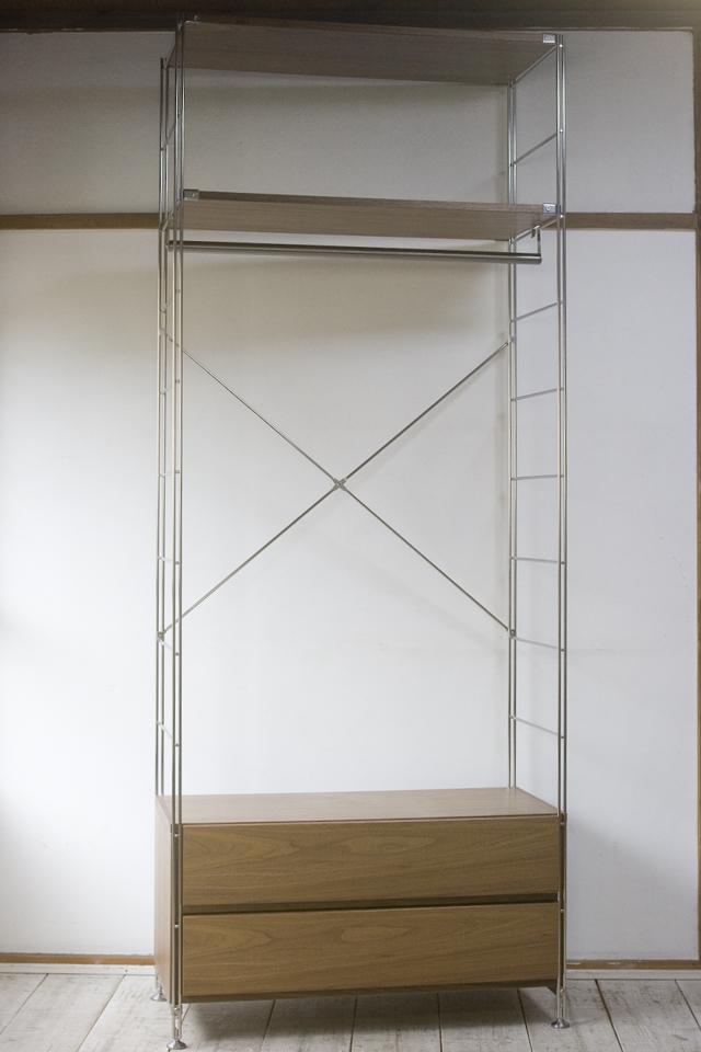 無印良品「ステンレスユニットシェルフ・ウォールナット材棚ワードローブセット」-01