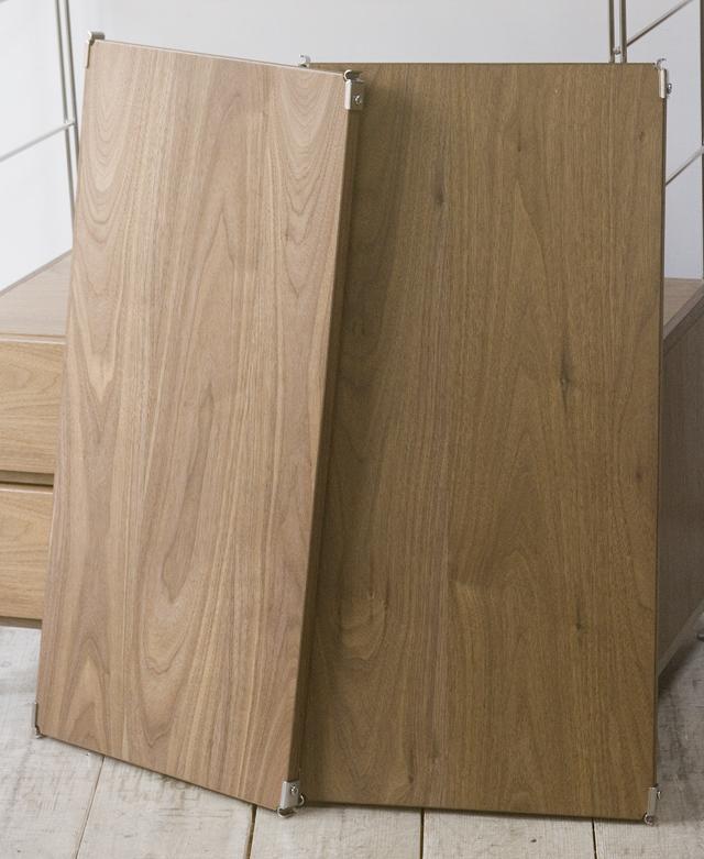 無印良品「ステンレスユニットシェルフ・ウォールナット材棚ワードローブセット」-06