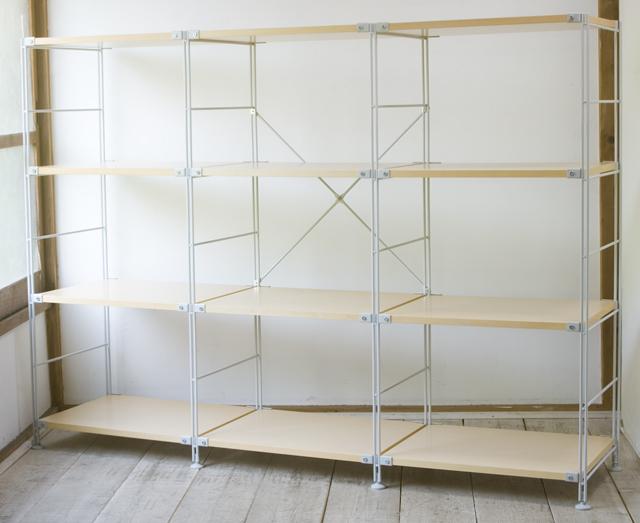 無印良品「スチールユニットシェルフ・木製棚4段セット」-01