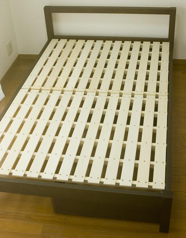 無印良品「タモ材ベッドフレーム・ブラウン・セミダブル|高密度ポケットコイルマットレス・セミダブル」-14