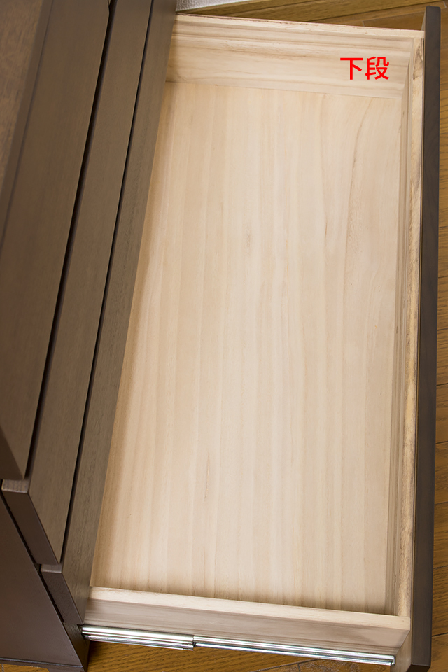 無印良品「タモ材チェストワイド4段・ブラウン」-10